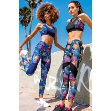 Black-Blue Patterned Sport Leggings