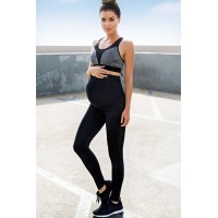 Black-Gray Sport Maternity Tights